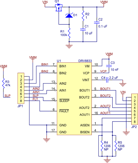 dvr8833 çift motor sürücü kartı - pl-2130 devre şeması